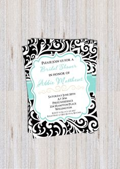 Tiffany Blue Damask Wedding Shower Invitation - Sweet 16 Modern Custom Invite - Choose Your Color by 3PeasPrints on Etsy https://www.etsy.com/listing/189276180/tiffany-blue-damask-wedding-shower