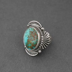 Ring | Stanley Parker.  (Navajo).  Sterling Silver, Natural Pilot Mountain Turquoise