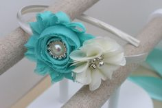 Aqua headbands aqua flower girl headband by VioletsChicDesigns