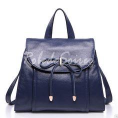 Sac à Dos Femme-La première couche de bleu aristocratique de cuir arc shoulder bag
