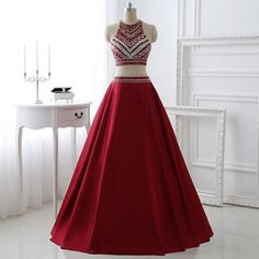 Two Pieces Burgunday Prom Dress Bridal Party Dresses Pst0990 on Luulla