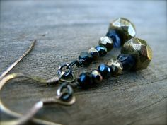 Pyrite and Iolite Earrings Sterling Silver by NorthernLightsGems, $18.00