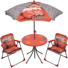 Table parasol jardin cars avec fauteuils de jardin cars pour les enfants