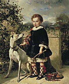 Nicolaas Pieneman Portrait of a boy with a greyhound 1854