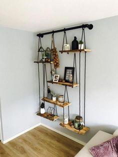 DIY Home Decor, room decor plan number 8937095780 for the truly eye-catching decor. Sweet Home, Diy Hanging Shelves, Floating Shelves, Rope Shelves, Wall Shelving, Diy Casa, Shelf Design, Decor Room, Wall Decor