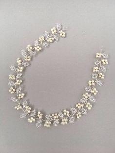 IRIS A Swarovski crystal and pearl wedding hair vine bridal Wire Jewelry Designs, Handmade Wire Jewelry, Jewelry Patterns, Bead Jewellery, Hair Jewelry, Beaded Jewelry, Iris, Bridal Earrings, Wedding Jewelry