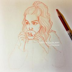 by juditmallolart - Coffee lover ☕️ Cute Drawings, Drawing Sketches, Sketching, Portrait Sketches, Character Drawing, Character Sketches, Drawing People, Love Art, Art Reference
