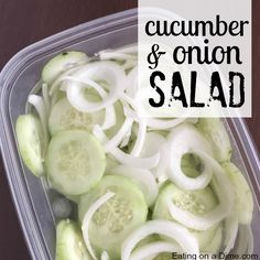 You just have to try this easy Cucumber Onion Salad Recipe next time you find cucumbers on sale. This easy salad recipe is perfect for a summer BBQ or a snack..