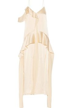 Jonathan Simkhai - Ruffled Silk-satin Midi Dress - Cream - US
