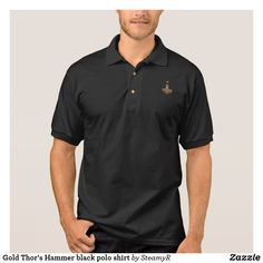 Gold Thor's Hammer black polo shirt Camisa Polo, Green Day, Mount Rushmore, Cool Vintage, Vintage Men, Vintage Style, Polo Shirt Colors, Golfer, Le Polo