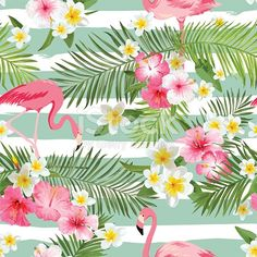 Flamingo Background Tropical Flowers Background Vintage - Flamingo Background Tropical Flowers Background Vintage Seamless Pattern Wall Mural E A Pixers E A We Live To Change Flamingo Party, Flamingo Fabric, Flamingo Wallpaper, Tropical Flowers, Tropical Art, Tropical Fabric, Flower Backgrounds, Wallpaper Backgrounds, Iphone Wallpaper