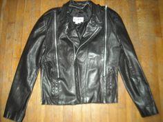 VTG 80S MENS 38 BLACK LEATHER ZIPPER MOTORCYCLE CAFE BIKER RETRO Rocker JACKET