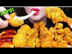ASMR CHEESE BALLS, FRIED CHICKEN, NUGGETS, SAUSAGE 뿌링 치즈볼, 뿌링클 치킨, 뿌링 콜팝, 소떡소떡먹방 EATING SOUNDS - YouTube Chicken Nuggets, Cauliflower, Vegetables, Ethnic Recipes, Food, Chicken Fingers, Cauliflowers, Essen, Vegetable Recipes
