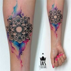 Lotus flower tattoo with bleed - Black lotus flower and colorful bleed are quite a good combination. #TattooModels #tattoo