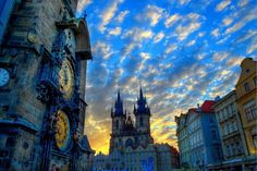 is this a painting or a real photo? It's beautiful! Home Studio, Adventure Awaits, Prague, Beautiful Things, Times Square, Gothic, Clock, Spaces, Architecture