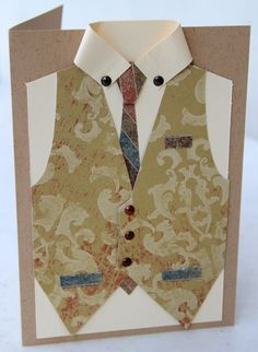 My version of the Male Waistcoat or Vest Card, the template is readily available on Pinterest.