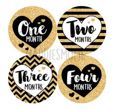 Monthly Baby Stickers Baby Girl Month Stickers Milestone Stickers Monthly Photo Stickers Sparkly Gold Glitter Cursive (Black and Gold) by MaddiesMomE on Etsy Printable Stickers, Cute Stickers, 1 Month Old Baby, Baby Month Stickers, Baby Posters, Monthly Photos, Baby Growth, Baby Album, New Sticker