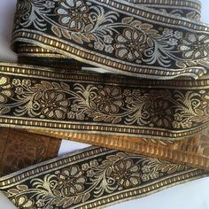 Jacquard Gold and Brown Ribbon Braid, 6 cm wide, embroidered floral design. JB002
