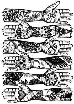 Hand tattoo sketchs (illustrations)