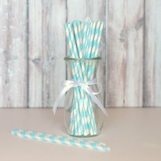 Striped Party Straws - Sky Blue for $4.50 from The TomKat Studio Party Shop