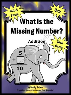 Common Core Math Missing Addend Task Cards Grade 1 from Promoting Success on TeachersNotebook.com (42 pages)  - This 42 page math packet is full of fun math activities for 1st grade common core math skills:  Operations and Algebraic Thinking 1.0A Work with addition and subtraction equations.