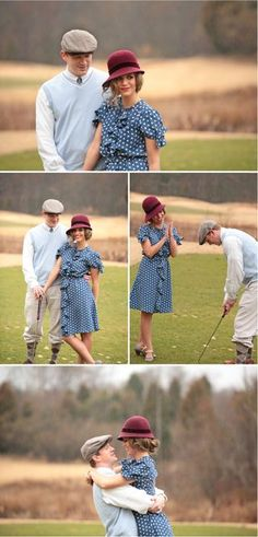 Here's the scoop on what we think is sweet out there. This adorable engagement shoot by Kristin Vining Photography via Style Me Pretty. Love the vintage golf look! Fall Engagement Shoots, Engagement Couple, Engagement Pictures, Wedding Engagement, Vintage Couples, We Are Love, Love Hat, Couple Outfits, Vintage Glam