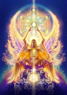 Sacred Geometry Art, Sacred Art, Chakras, You Are My Moon, Cosmic Art, Archangel Michael, Visionary Art, Angel Art, Psychedelic Art