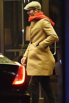 David Beckham wearing Saint Laurent Cigar Suede Chelsea Boots, Saint Laurent Skinny Fit Raw Hem Denim Jeans and Lock and Hatters Muirfield Tweed Cap