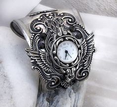 Silver Watch Bracelet with black crystals by Aranwen on Etsy, €146.00