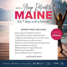 Get treated to 7-nights at Sewall House in Maine complete with delicious vegetarian fare, daily yoga and meditation classes, and plenty of new workout swag.
