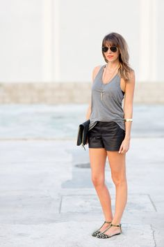 3 WAYS TO STYLE LEATHER SHORTS from @Sarah Chintomby Yates / A House in The Hills . Maybe my favorite look!  Which one do you love the most??   Read more - http://www.stylemepretty.com/living/2013/07/25/3-ways-to-style-leather-shorts/