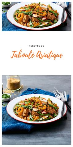 #taboulé #asiatique #végétarien Japchae, Ethnic Recipes, Food, Bulgur, Veggie Dishes, Green Beans, World Cuisine, Asian, Water