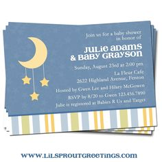 Moon and Stars theme baby shower invites
