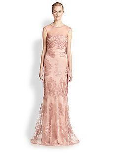 David Meister Lace Illusion Sleeveless Embroidered Formal Evening Gown Dress A sheer illusion top flows into a stunning embroidered lace gown enhanced with a Bridesmaid Dresses, Prom Dresses, Formal Dresses, Wedding Dresses, Reception Dresses, Bridesmaids, David Meister, Wedding Styles, Wedding Ideas