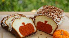 Peekaboo pumpkin pound cake tutorial || http://www.sheknows.com/food-and-recipes/articles/975551/pumpkin-pound-cake