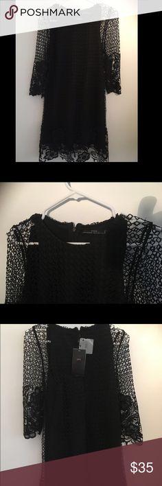 Black Lace dress Lace over the black fabric Zara Dresses Midi