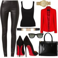 All black, red blazer paired with red bottoms