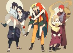 Sasuke, Naruto, & Gaara with their mothers ^_^ this is so sweet.