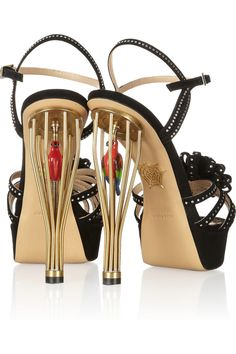 Charlotte Olympia | Birds of Paradise crystal-embellished suede and metal sandals | SS2013