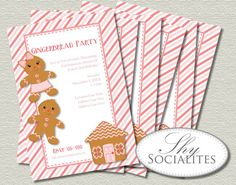 Gingerbread Cookie Party Printable Invitations   Pink, Cookie Baking, Decorating or Exchange, December Birthday, Baby Shower   Print at Home...