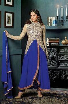 Blue Sherwani Coller Gown - Designer Gown   Zakasi.com