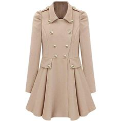 Double-breasted Cream Trench Coat found on Polyvore featuring polyvore, fashion, clothing, outerwear, coats, jackets, casacos, coats & jackets, trench coat and cream coat