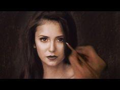 Drawing Nina Dobrev / Elena ( vampire diaries ) - portrait art - YouTube