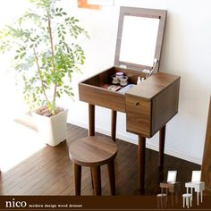 Dresser Dresser mirror mirror side Dresser wooden Dresser desk desks with stools, makeup table mid-century modern simple Nordic storage chest makeup units wooden Dresser nico [Niko] 10P30Nov13
