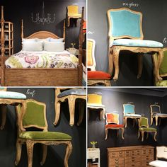 """""""Here's a buffet and a bed from the primitive collection. The chairs have a French wood detail and fun velvet color to mix it up! #primitive #eclectic…"""""""