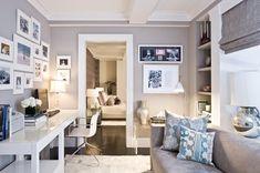 home office inspiration - looks like IKEA tables? Cozy Home Office, Guest Room Office, Home Office Space, Home Office Design, Home Office Decor, House Design, Office Ideas, Bedroom Office, Office With Couch