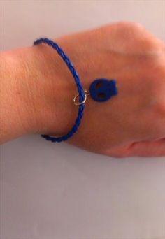 Eivissa Party Leather and Skull Charm Bracelet in Dark Blue