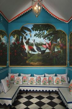 Bar Palladio Jaipur India designed by Marie-Anne Oudejans and Exotic Bird Mural Painted by Vikas Soni of Jeypur Arts Interior Inspiration, Design Inspiration, Room Inspiration, Travel Inspiration, Appartement Design, India Design, Indian Interiors, Interior And Exterior, Interior Design