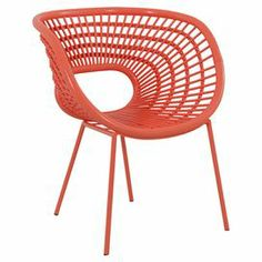 """Offer your guests a stylish seat with this eye-catching rattan accent chair, featuring a curving silhouette and openwork design.  Product: ChairConstruction Material: Rattan and aluminumColor: OrangeFeatures:  Curved silhouetteOpenwork designDimensions: 33"""" H x 26"""" W x 23"""" D"""