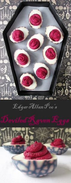 Raven Eggs Deviled Raven Eggs from our Edgar Allan Poe menu!Deviled Raven Eggs from our Edgar Allan Poe menu! Entree Halloween, Fete Halloween, Halloween Appetizers, Halloween Food For Party, Holidays Halloween, Halloween Treats, Happy Halloween, Halloween Stuff, Halloween Cupcakes